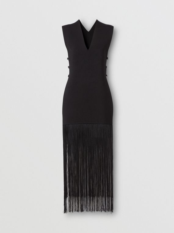 Sleeveless Fringed V-neck Poncho in Black