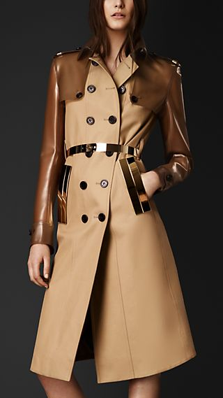 Vinyl And Gabardine Trench Coat