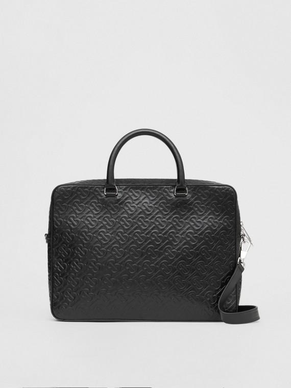 Monogram Leather Briefcase in Black