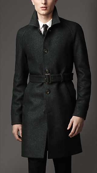 Mid-Length Wool Silk Trench Coat
