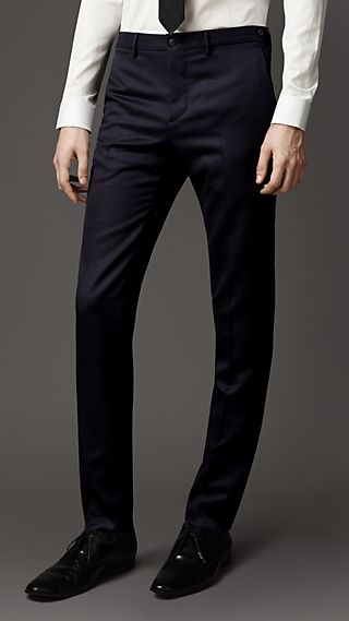 Slim Fit Virgin Wool Twill Trousers