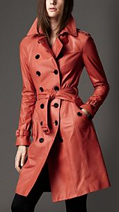 Long Lambskin Trench Coat