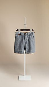 Check Lined Chambray Shorts