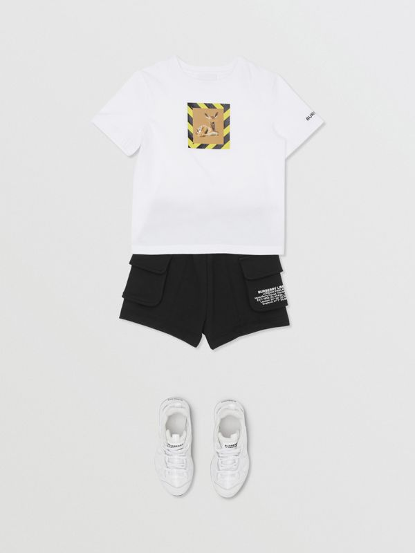 Deer Print Cotton T-shirt in White | Burberry United States - cell image 3