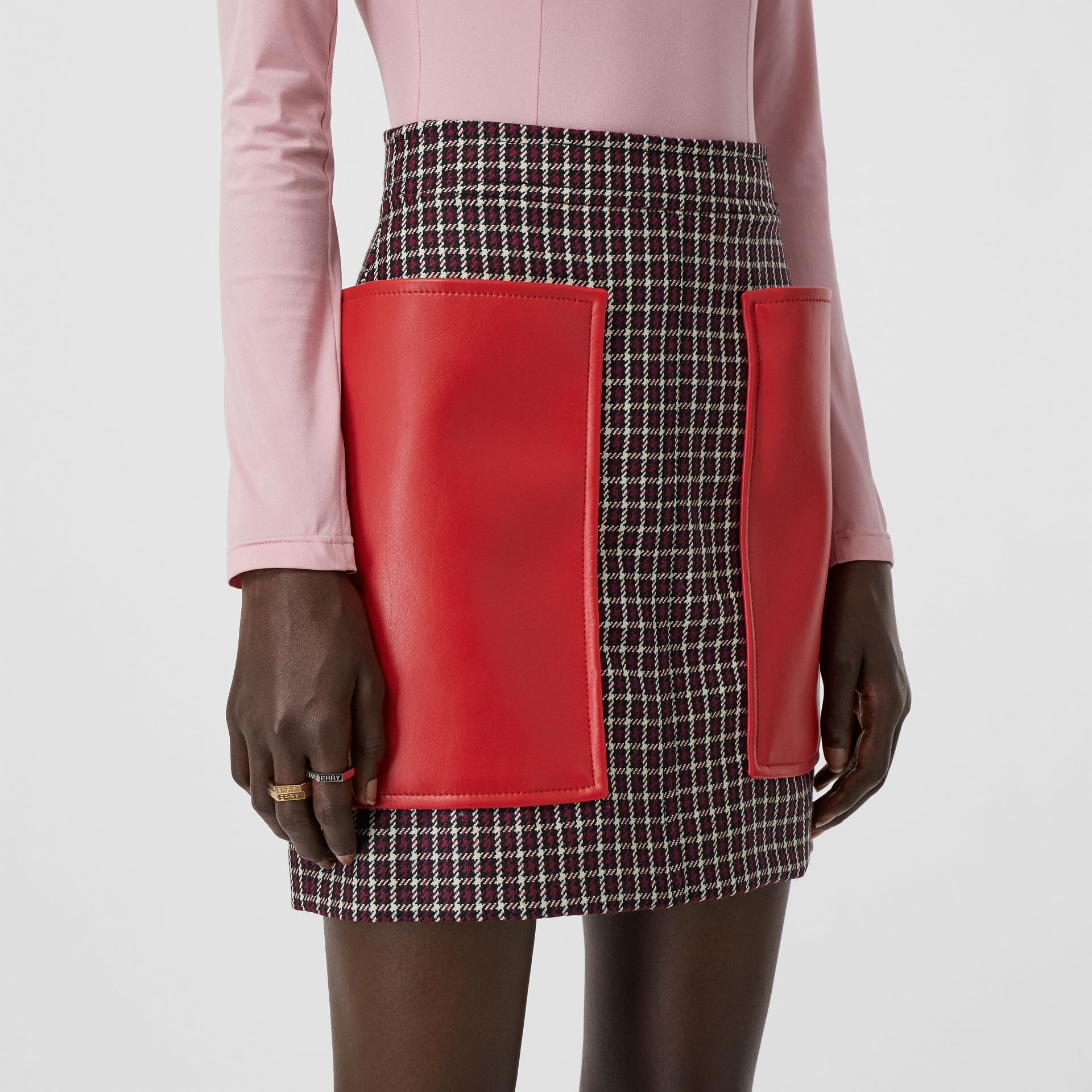 Pocket Detail Tartan Wool Mini Skirt in Bordeaux - Women | Burberry - gallery image 6