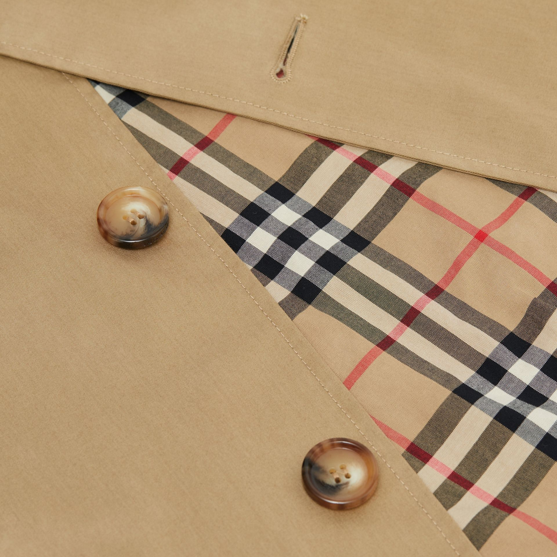 Logo Tape Cotton Car Coat in Honey   Burberry - gallery image 5