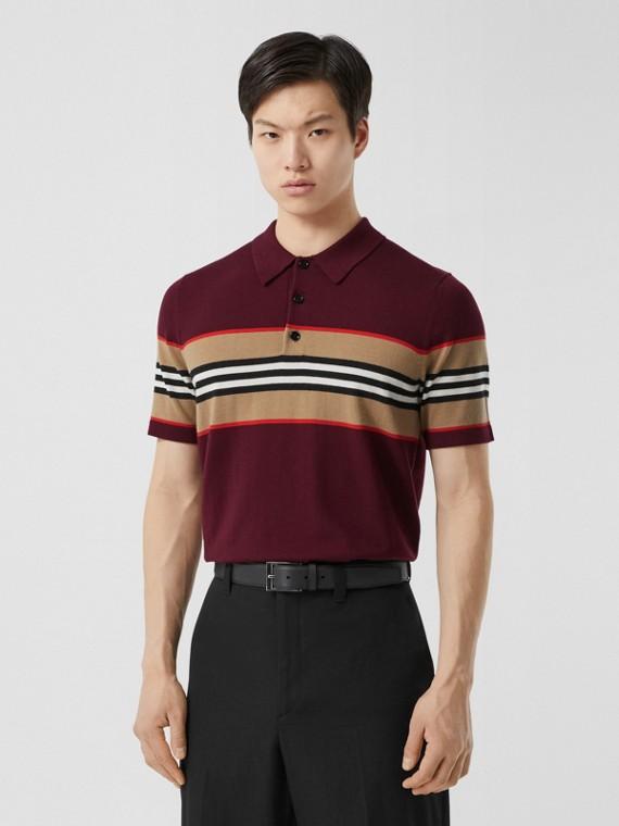 Icon Stripe Detail Merino Wool Polo Shirt in Deep Merlot