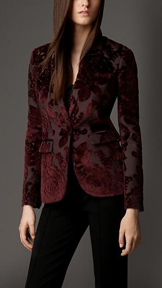 Velvet Jacquard Tailored Jacket