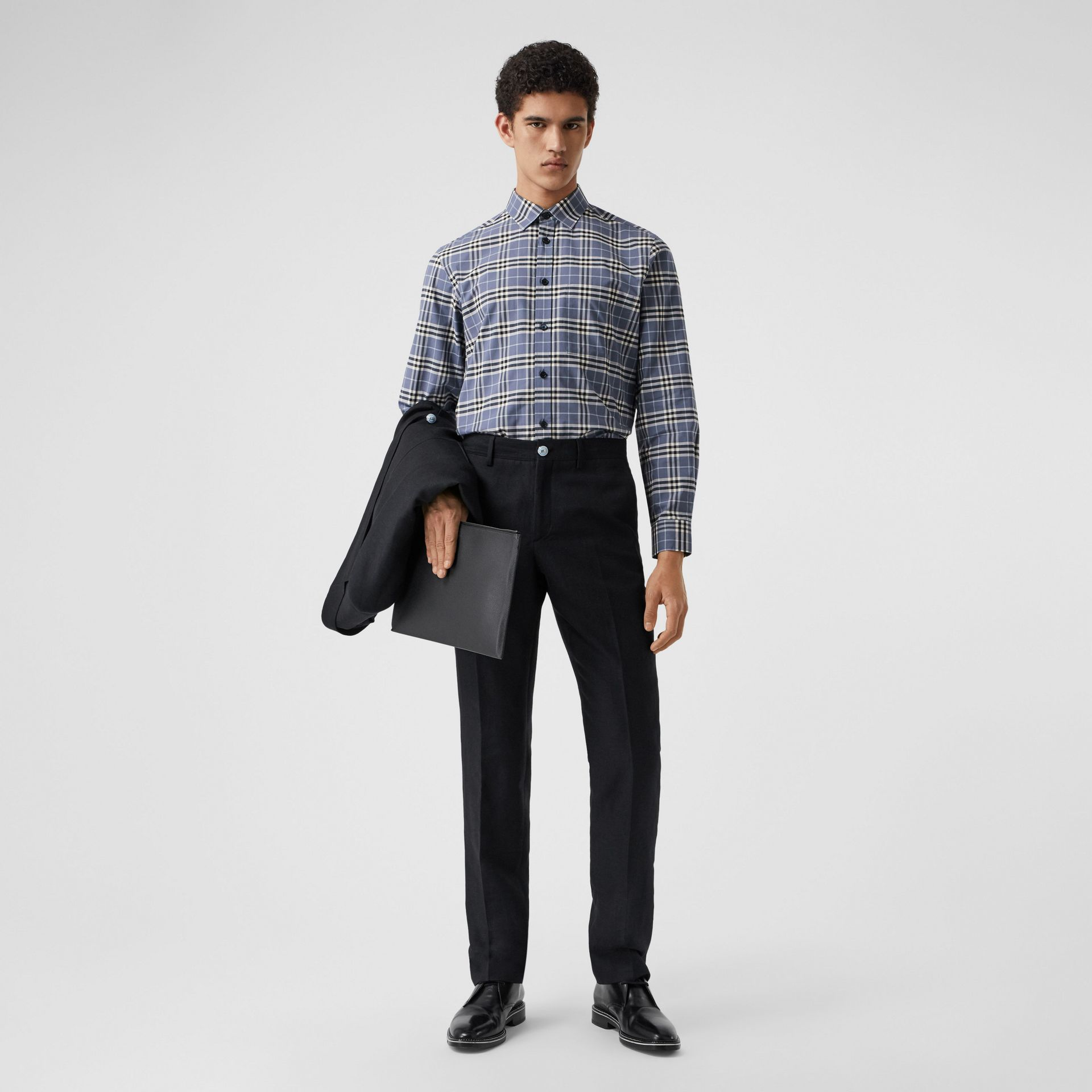 Small Scale Check Stretch Cotton Shirt in Pebble Blue - Men | Burberry United Kingdom - gallery image 5
