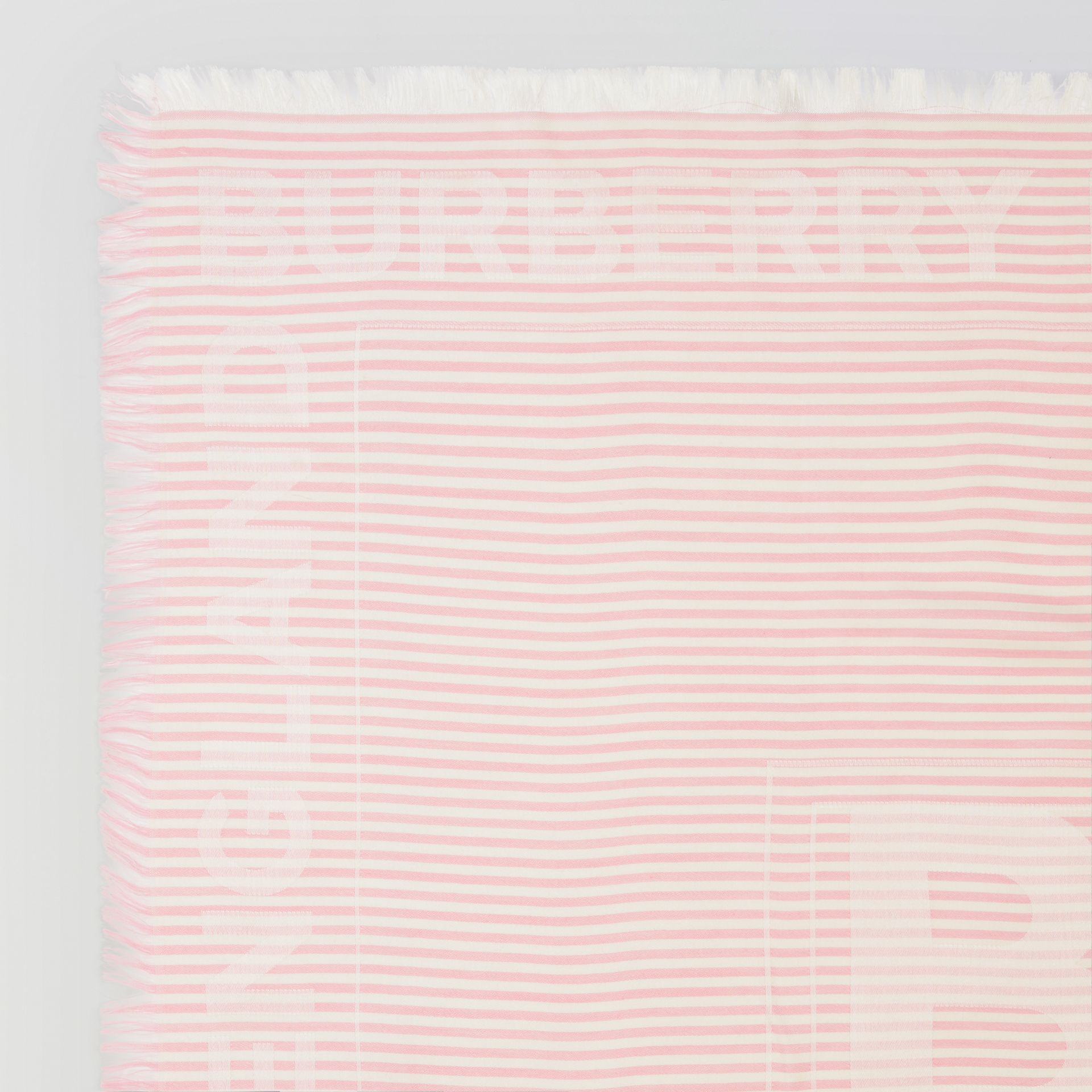 Striped Logo Silk Wool Jacquard Large Square Scarf in Peony Pink | Burberry - gallery image 1