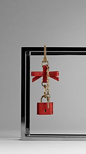 Grainy Leather Padlock Key Charm