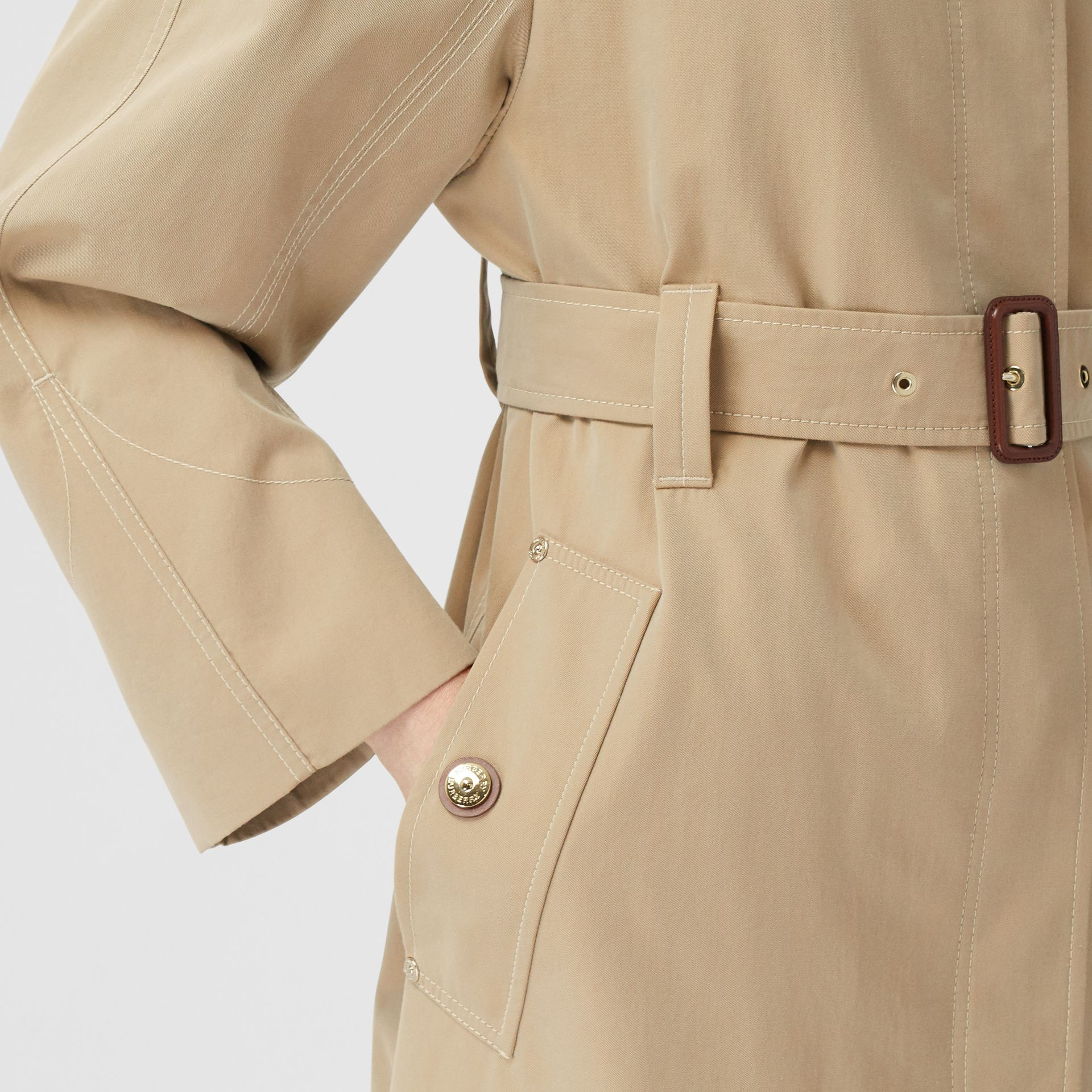 Tropical Gabardine Belted Car Coat in Honey - Women | Burberry - gallery image 4
