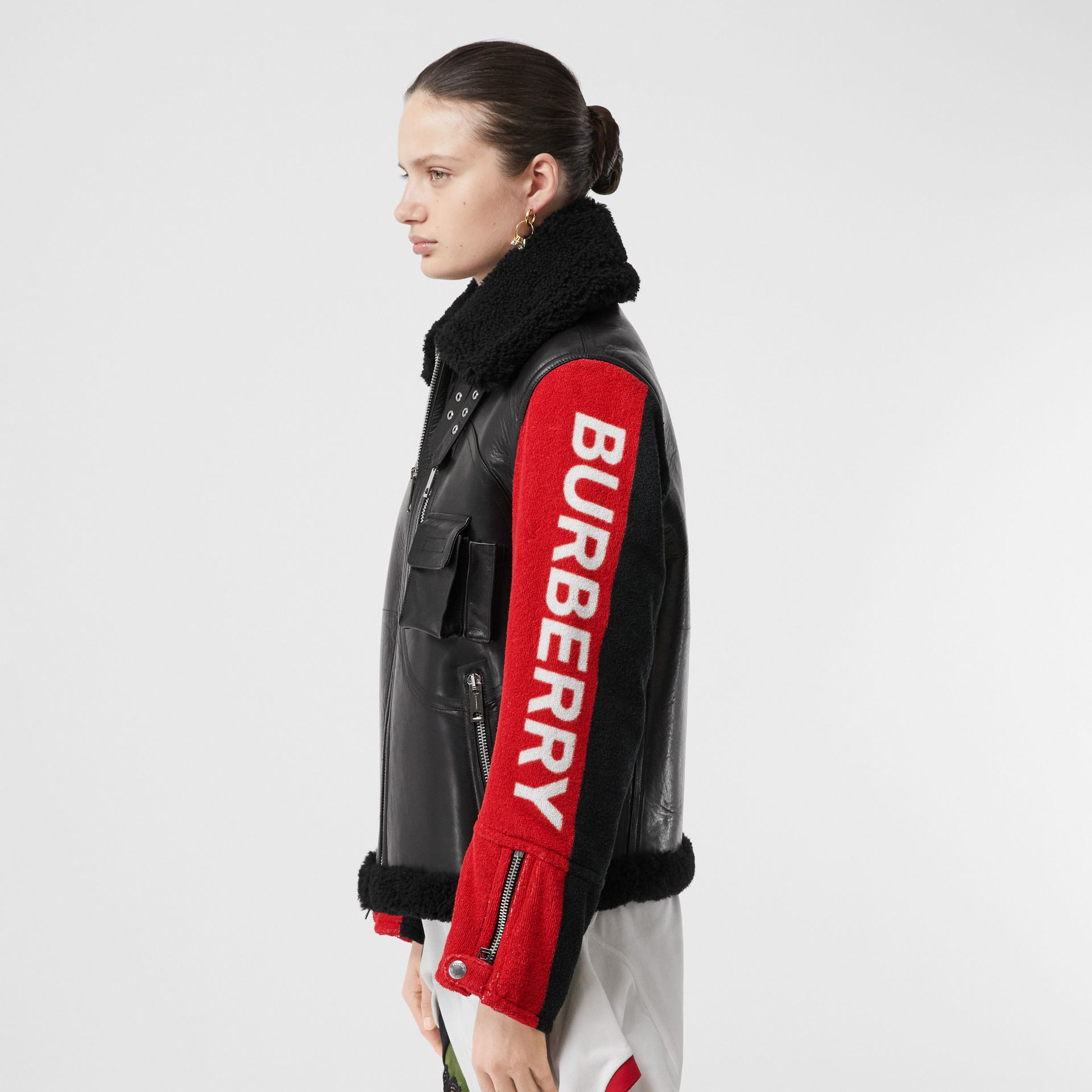 Contrast Sleeve Leather and Shearling Jacket in Black - Women | Burberry United Kingdom - gallery image 4