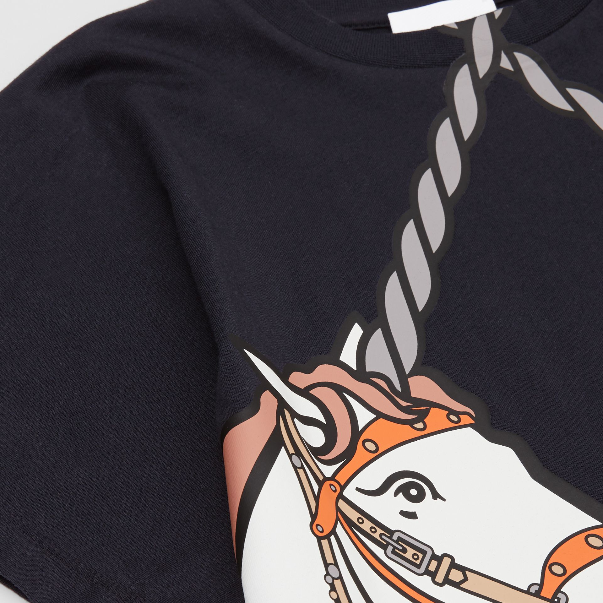 Unicorn Print Cotton T-shirt in Ink   Burberry United Kingdom - gallery image 1