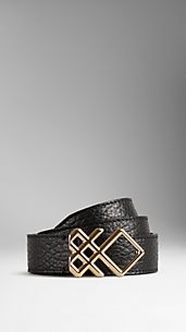 Leather Check Buckle Belt