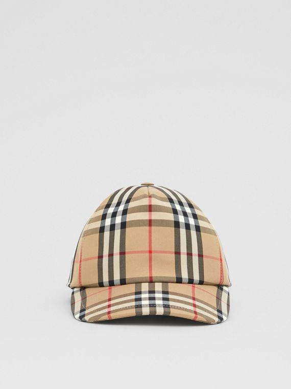 Logo Appliqué Vintage Check Baseball Cap in Archive Beige