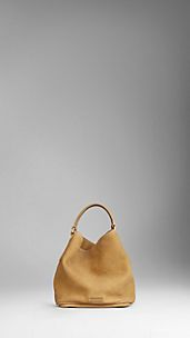 Small Suede Nubuck Leather Hobo Bag