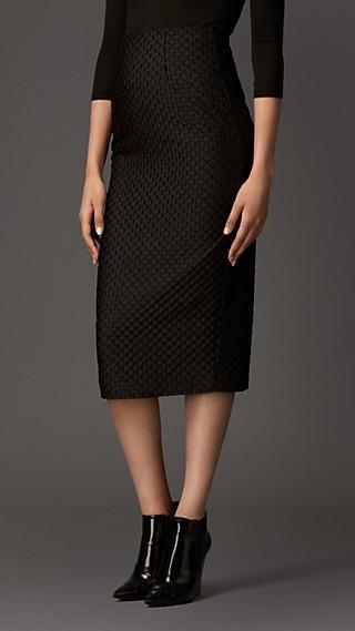 Textured Fil Coupé Pencil Skirt