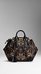 Medium Animal Print Calfskin Tote Bag