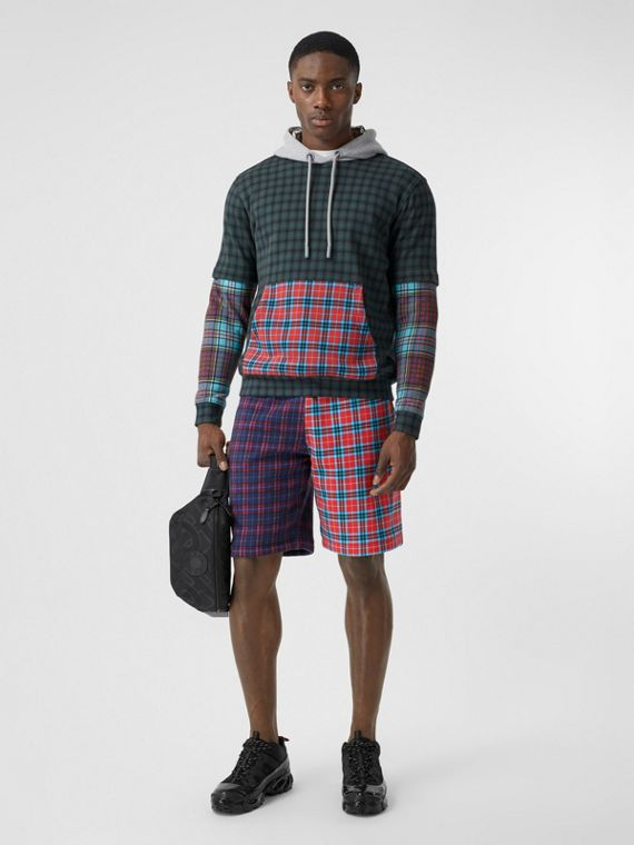 Patchwork Check Cotton Blend Drawcord Shorts in Navy