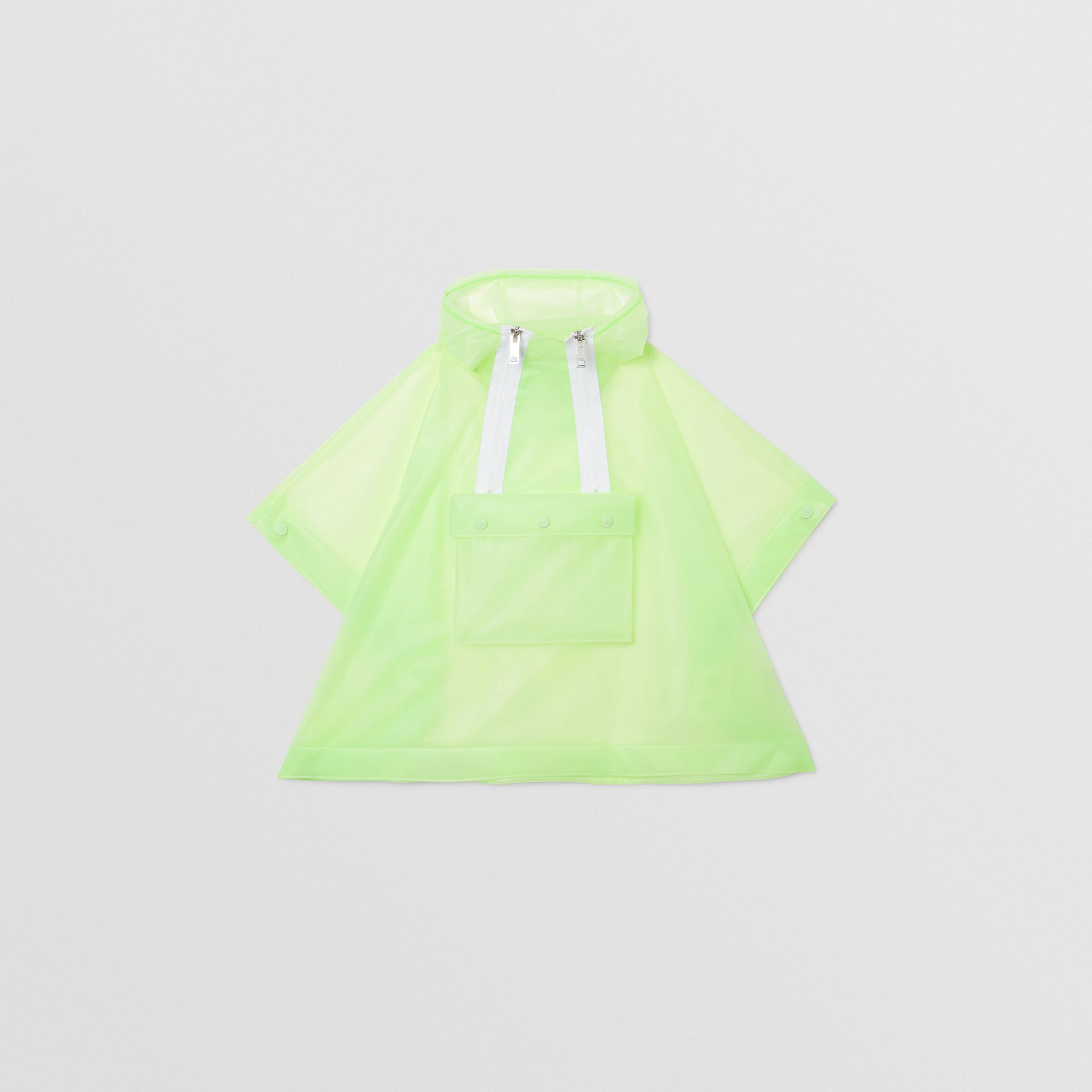 Logo Print Showerproof Hooded Poncho in Pistachio   Burberry - gallery image 0