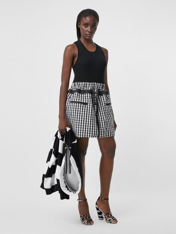 Gingham Cotton and Technical Wool Loop-back Dress in Black