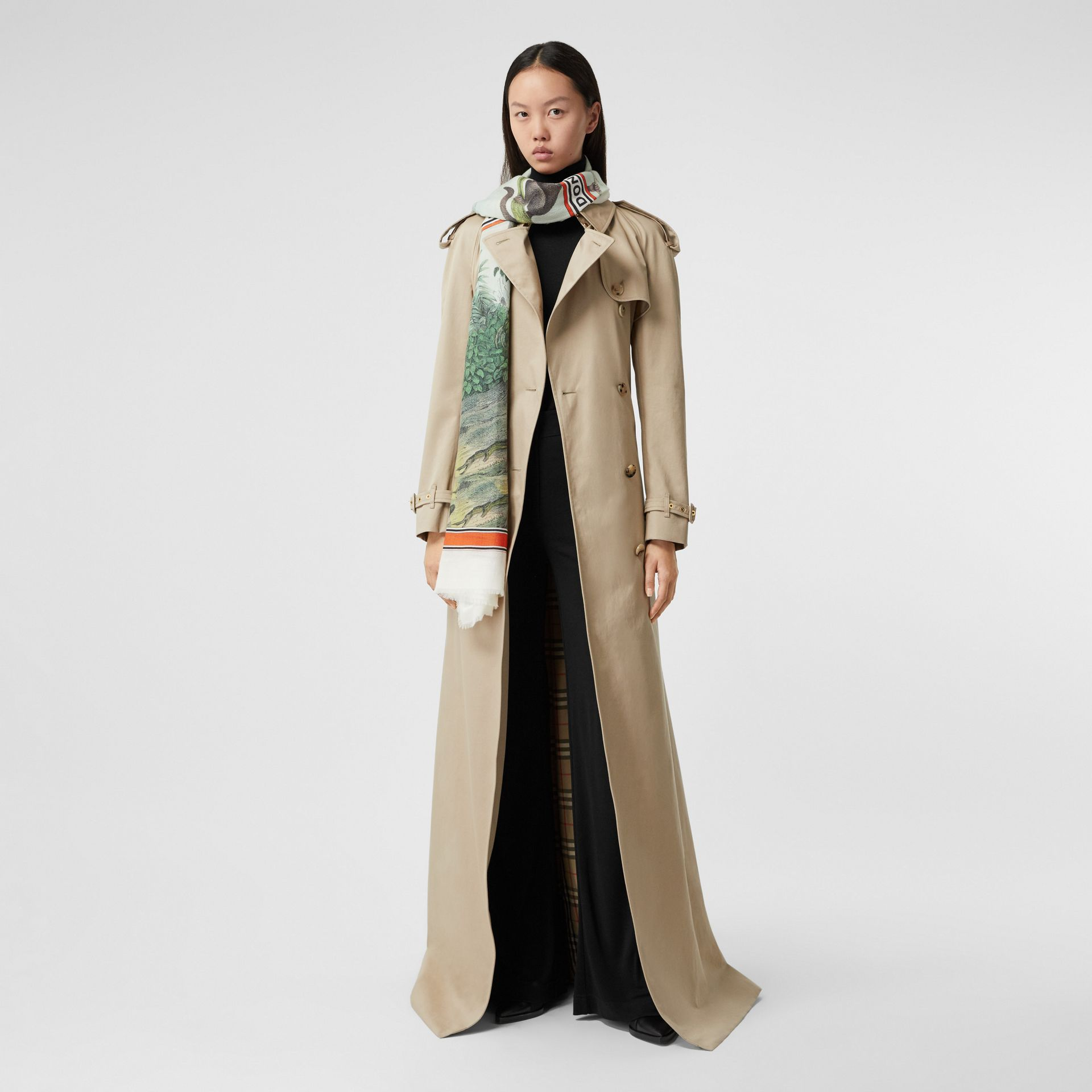 Monkey Print Lightweight Cashmere Scarf in Opal Green | Burberry - gallery image 6