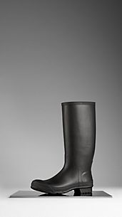 Ridged Detail Rubber Rain Boots