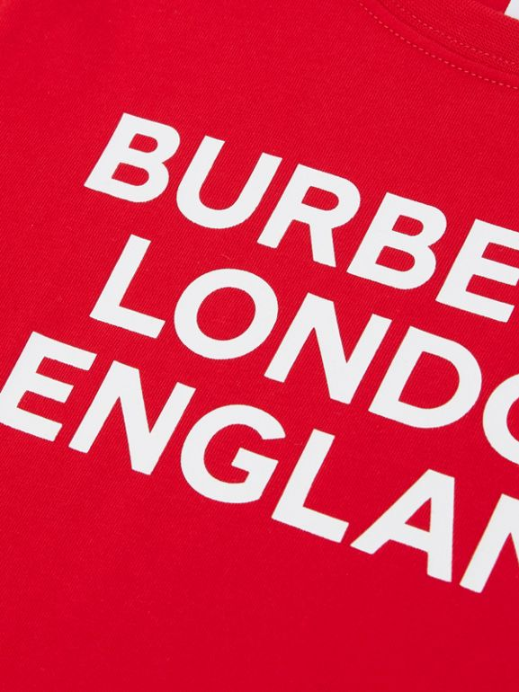 Logo Print Cotton T-shirt in Bright Red | Burberry United Kingdom - cell image 1