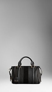 Medium Canvas Check Jacquard Suede Bowling Bag