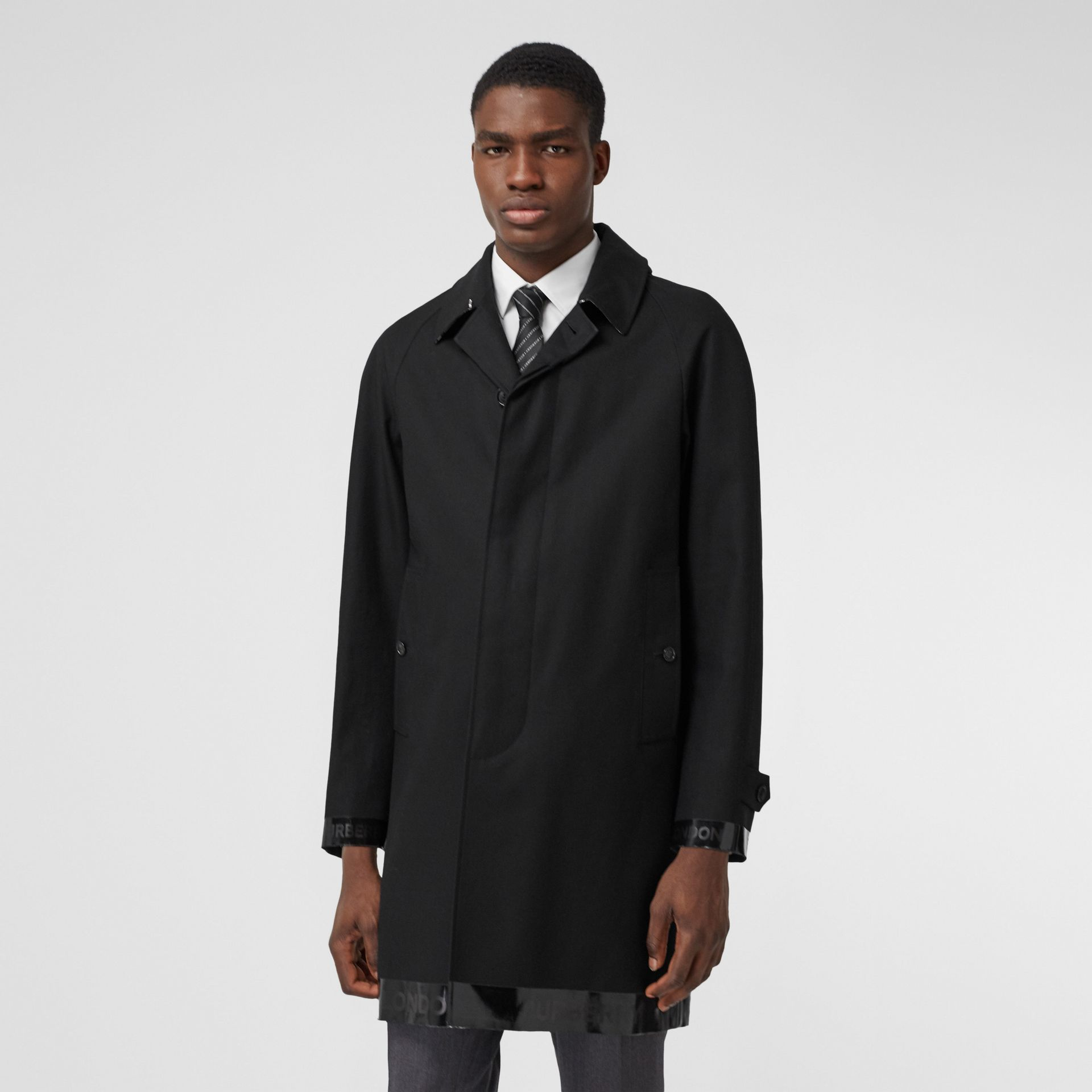 Logo Tape Cotton Car Coat in Black - Men | Burberry - gallery image 7
