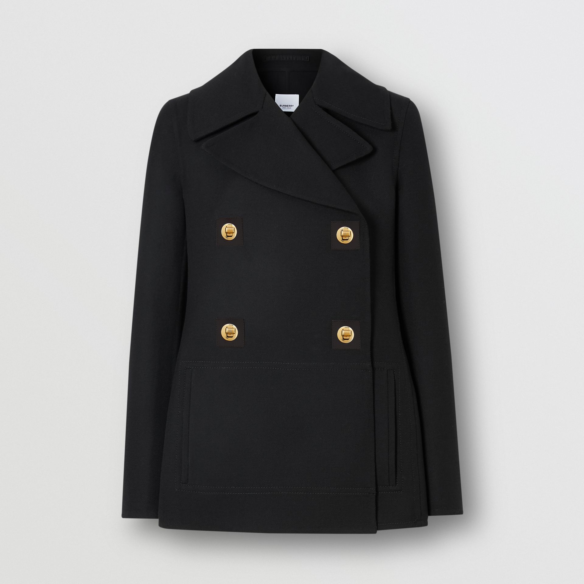Double-faced Wool Pea Coat in Black - Women | Burberry - gallery image 3