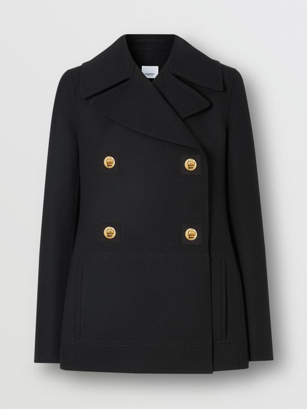 Double-faced Wool Pea Coat in Black - Women | Burberry - cell image 3
