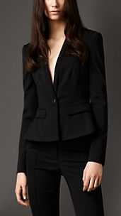 Fitted Peplum Detail Wool Blend Jacket