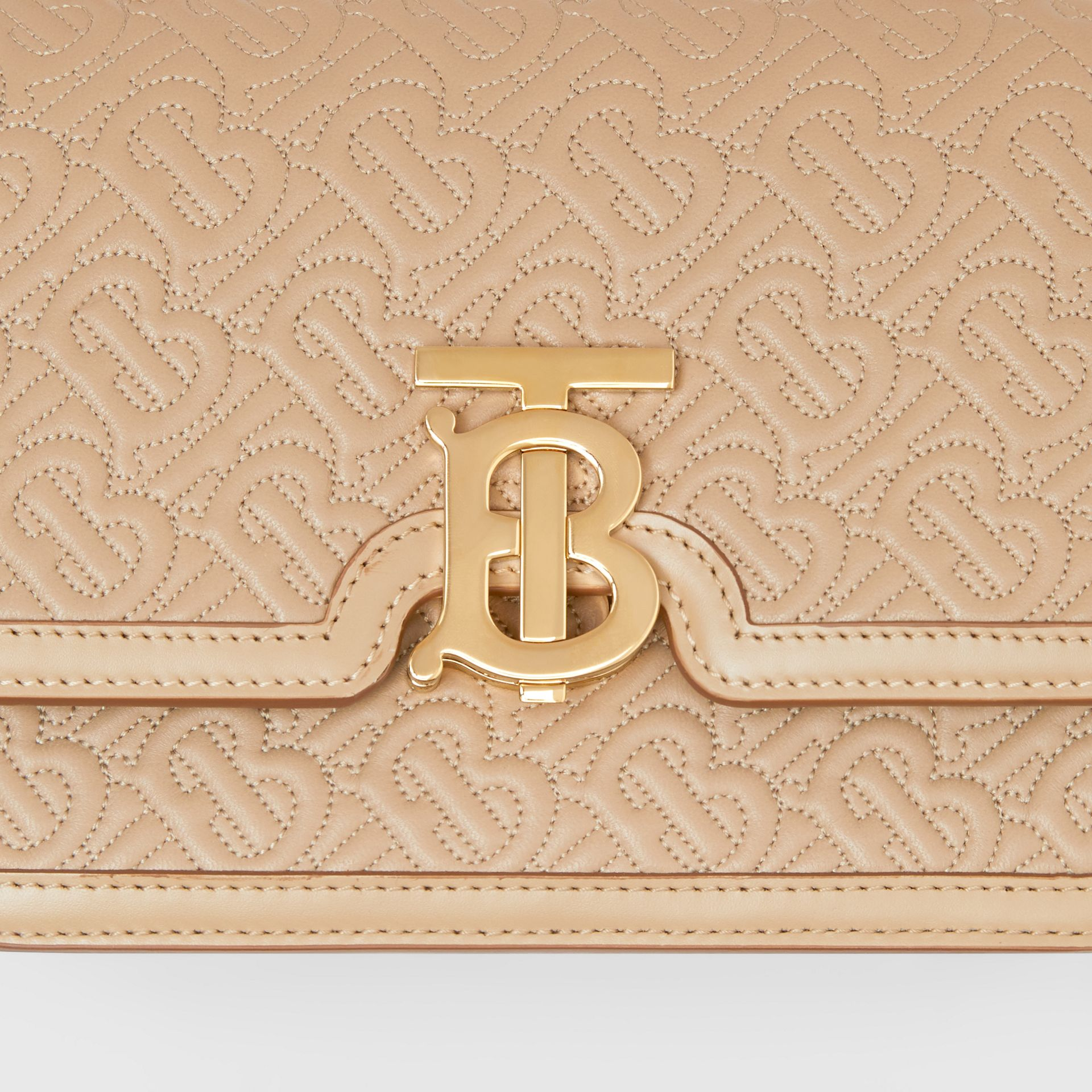 Small Quilted Monogram Lambskin TB Bag in Honey - Women | Burberry - gallery image 1