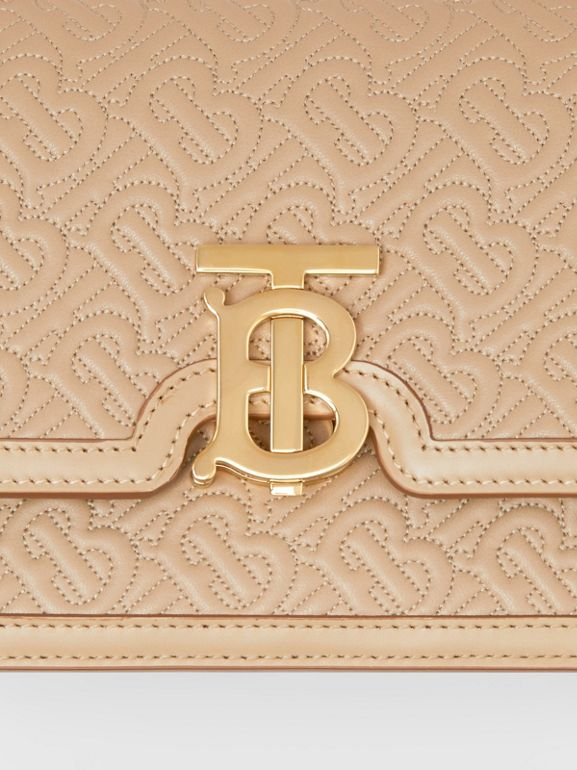 Small Quilted Monogram Lambskin TB Bag in Honey - Women | Burberry Australia - cell image 1