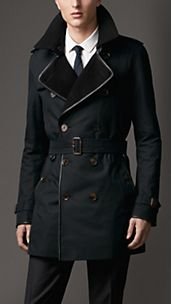 Mid-Length Wool Collar Cotton Gabardine Trench Coat