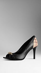 Check Detail Leather Peep-Toe Pumps