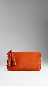 London Leather Tassel Clutch Bag