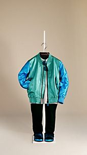Bi-Colour Metallic Leather Bomber