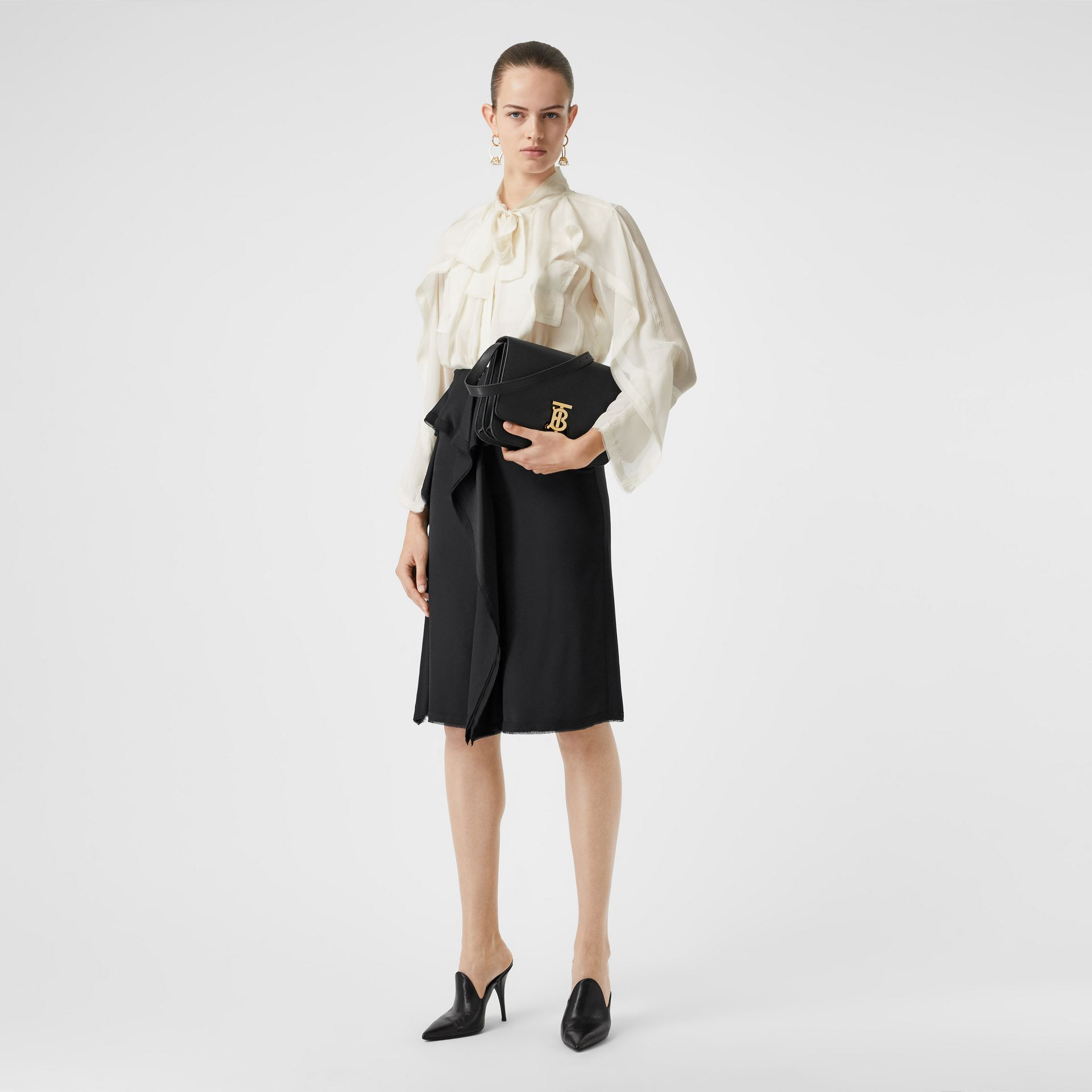 Ruffled Silk Chiffon Pussy-bow Blouse in Ivory - Women | Burberry - gallery image 0