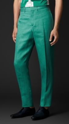 亚麻锥形紧腿长裤图片