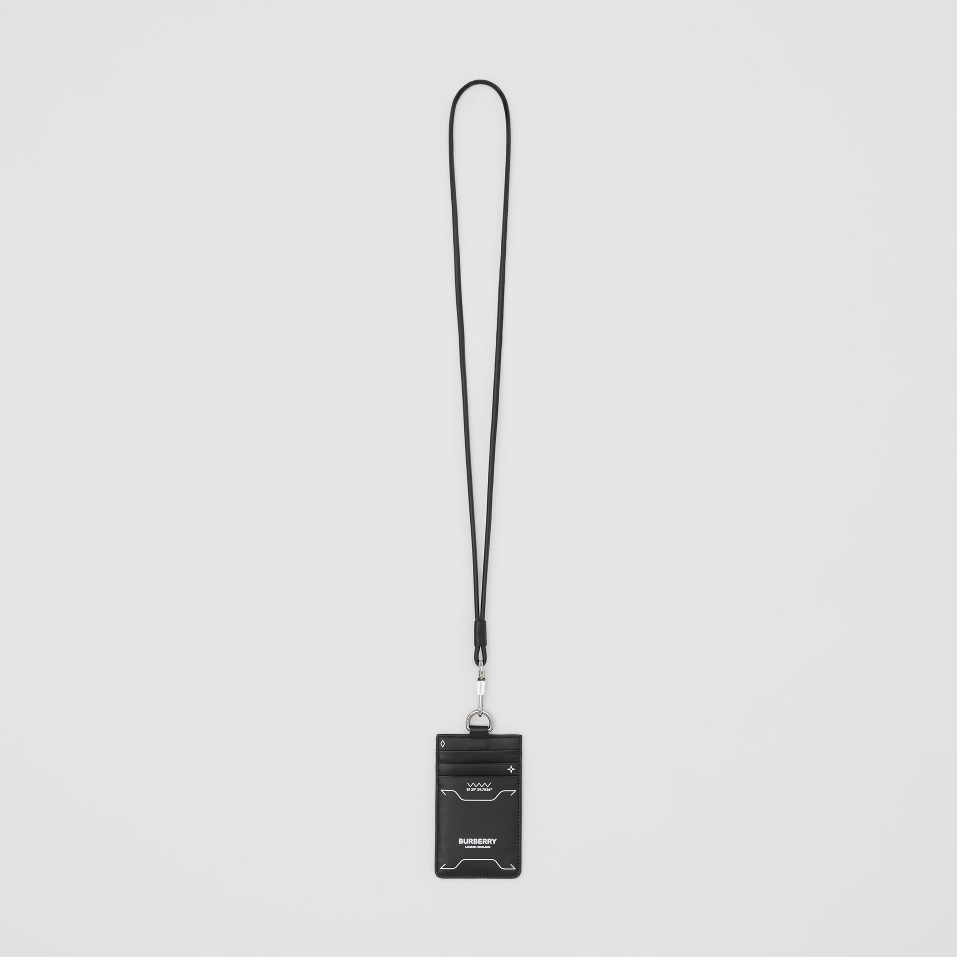 Symbol Print Leather Card Case Lanyard in Black | Burberry United States - gallery image 0