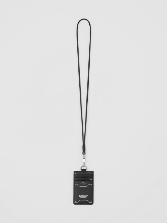 Symbol Print Leather Card Case Lanyard in Black