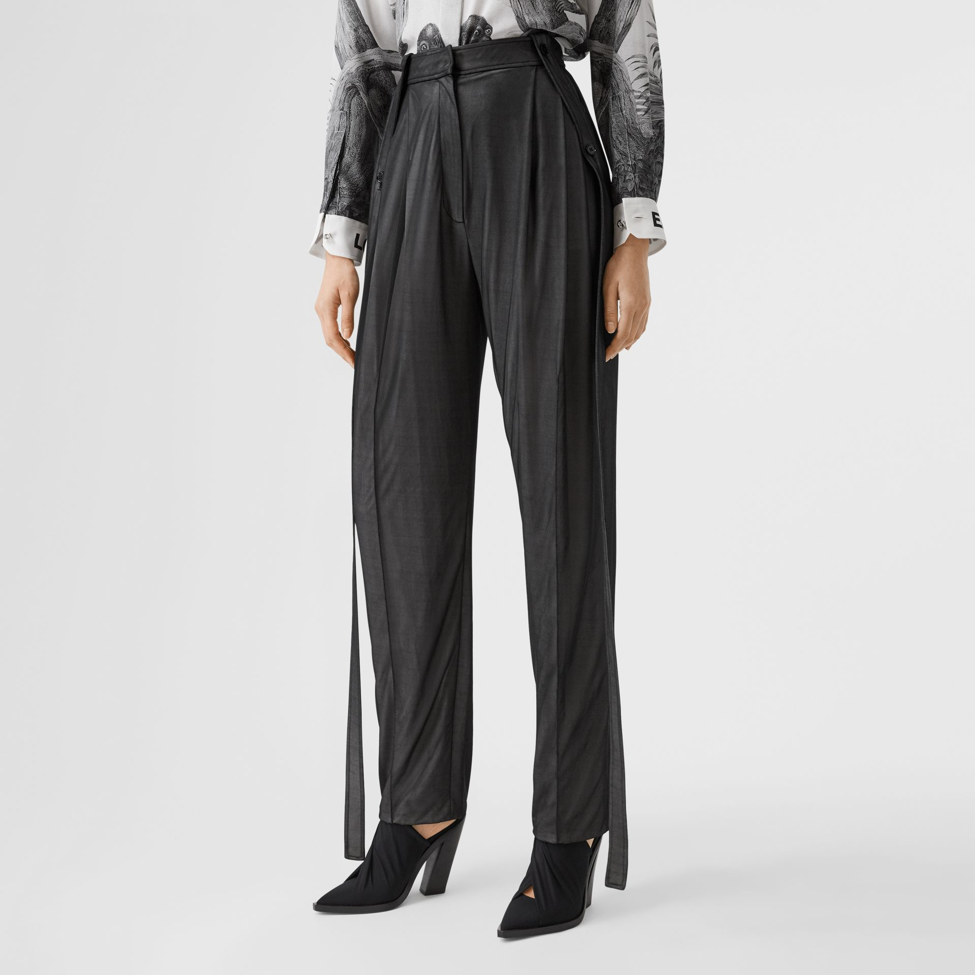 Strap Detail Chiffon and Jersey Tailored Trousers in Black - Women | Burberry - gallery image 4