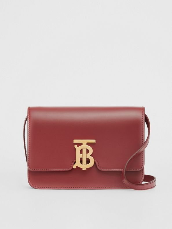 Small Leather TB Bag in Crimson