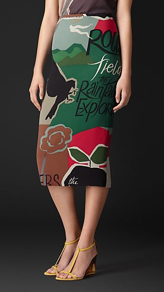 Book Cover Print Silk Georgette Pencil Skirt