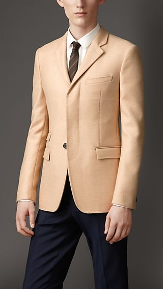 Slim Fit Camel Hair Jacket