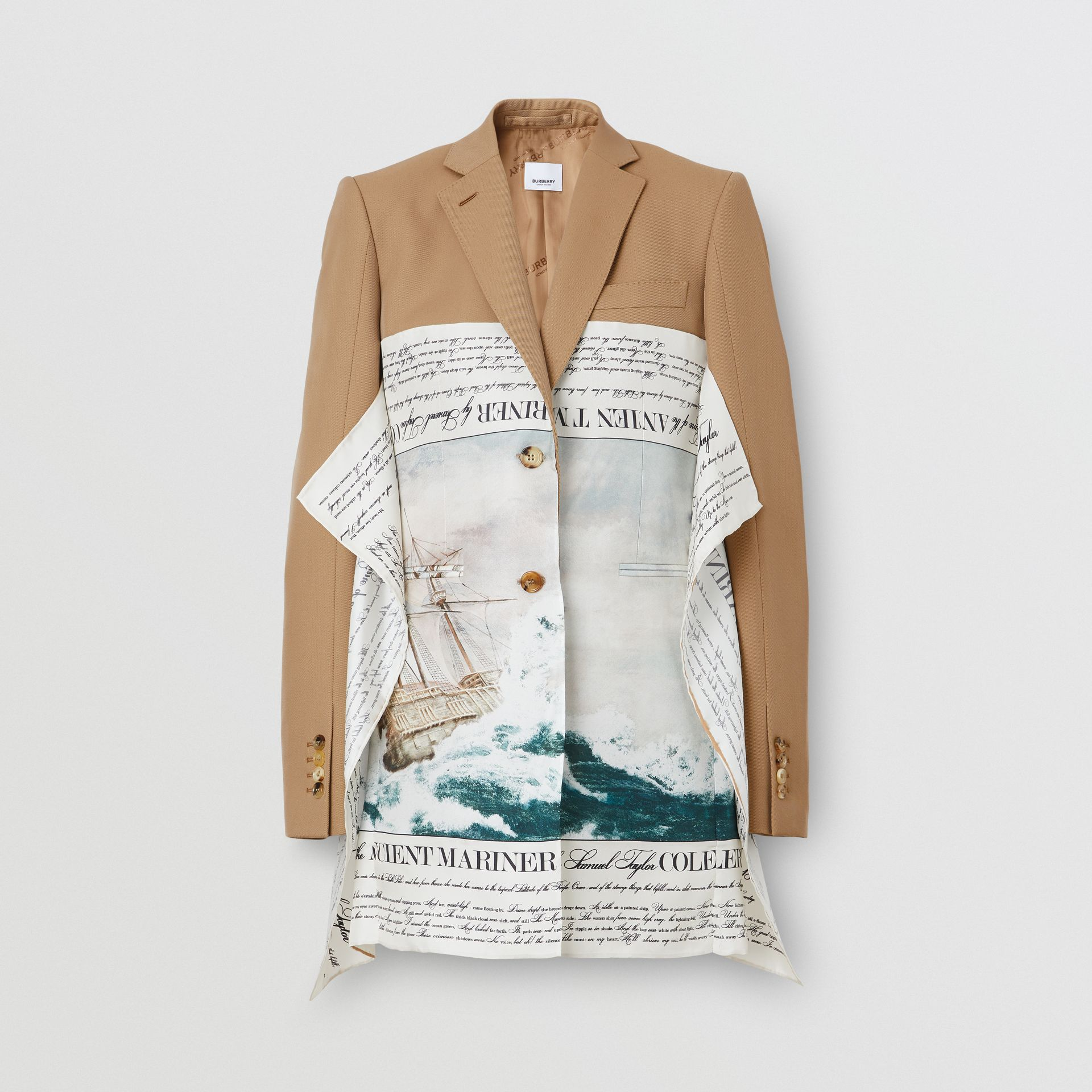 Mariner Print Scarf Detail Wool Blend Tailored Jacket in Camel - Women | Burberry - gallery image 2