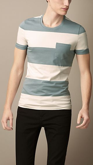 Block Stripe Liquid Soft Cotton T-Shirt
